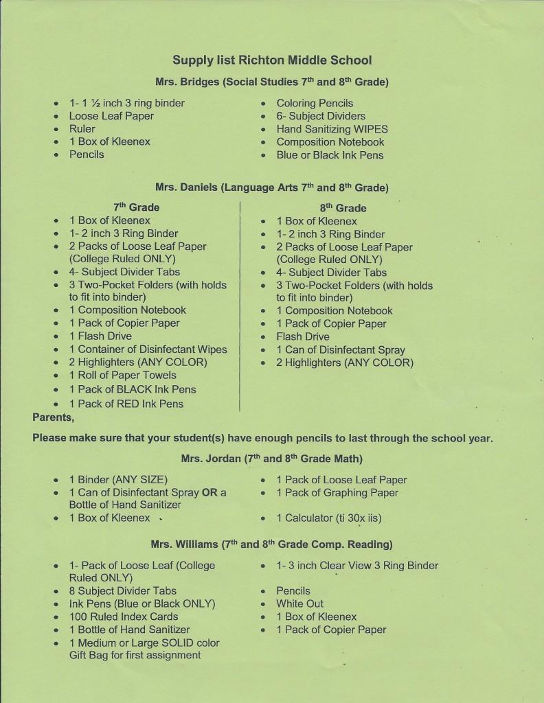 Richton Middle School Supply List